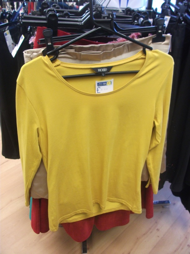 Hobbs yellow  3/4 sleeved T, size L, £8.50